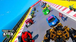 Among Yellow & Spiderman and CARS HOT WHEELS Challenge GTA V MODS ! Машины Хот Виллс и Супергерои !