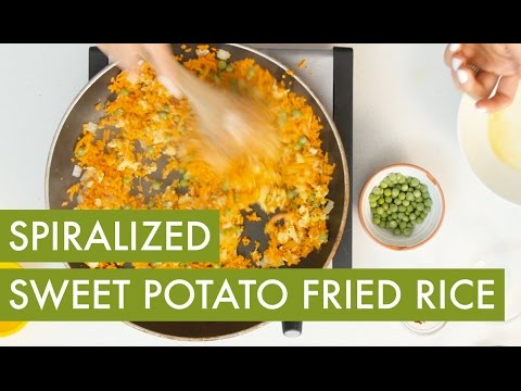 Spiralized Sweet Potato Fried Rice I Vegetarian Spiralizer Recipe