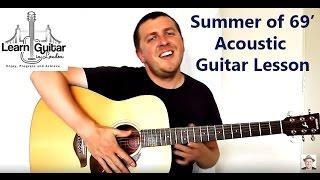 Fingerstyle Guitar Tutorial - Summer Of 69 - Bryan Adams - Unplugged - Drue James