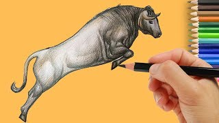 How to Draw a Bull Easy | Step by Step Art Tutorial for Kids - Drawing Cartoon Bull 2018
