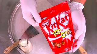 KitKat Ice Cream Rolls | how to make rolled fried Ice Cream with Kit Kat Pop Choc Chocolate | ASMR