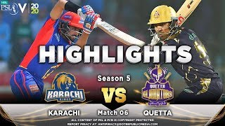 Karachi Kings vs Quetta Gladiators | Full Match Highlights | Match 6 | 23 Feb 2020 | HBL PSL 2020  Subscribe to Official HBL Pakistan Super League Channel and stay updated with the latest happenings. http://bit.ly/PakistanSuperLeagueOfficial  #HBLPSLV #HBLPSL2020  Cricket fans from around the world are excited about the Fifth edition of the HBL Pakistan Super League. Competition is heating up among fans as their favorite HBL Pakistan Super League teams take on each other in the lucrative cricket extravaganza which includes leading Pakistan national cricketers, established international players, and emerging players in each of the team's Playing XI.
