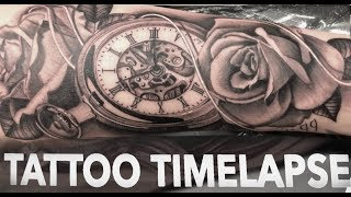TATTOO TIMELAPSE | ROSES AND POCKET WATCH | CHRISSY LEE