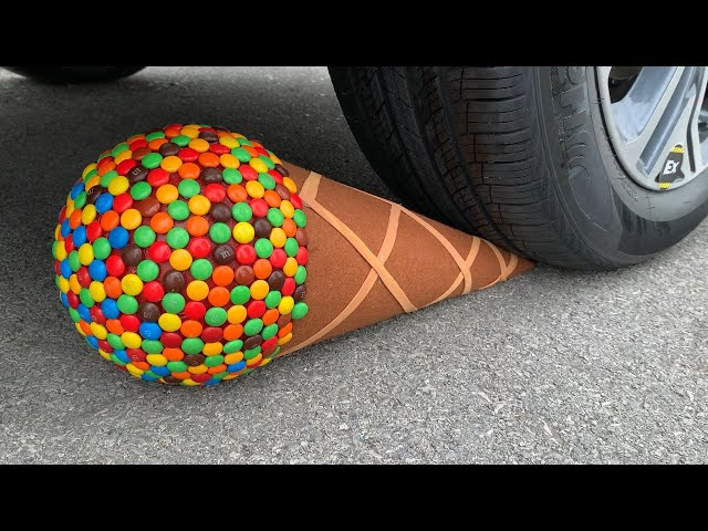 Experiment Car vs M&M Icecream Toy | Crushing crunchy & soft things by car | Test Ex