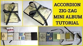 Accordion Zig Zag Mini Album Tutorial By Sangitaa Rawat | 5 Cards| Mini Folio |Camera Box Mini Album