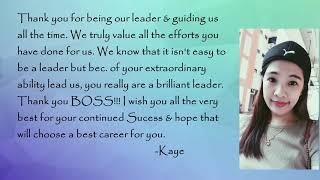 New Farewell message to boss