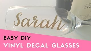 QUICK TUTORIAL: Apply Vinyl Decals to Champagne Glasses (Bachelorette Party DIY, Bridesmaid Gift)