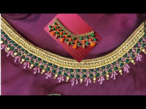Blouse Design With Chain & French knots | Aari Maggam Works |#58