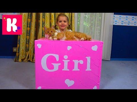 Катя и кошечка Мурка открывают большой сюрприз в коробке для девочек / Кролик и граммофон для кошек
