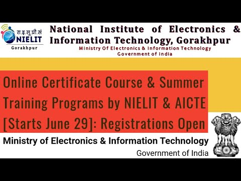 Online Certificate Course & Summer Training Programs by NIELIT ...