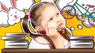О чем думает голова Амельки? Амелия Замечталась! Малыш делает домашнее задание Видео для детей