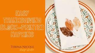 Block-Printed Thanksgiving Napkins
