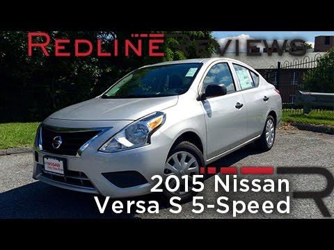 2015 Nissan Versa S 5-Speed Review, Walkaround, Exhaust, & Test Drive