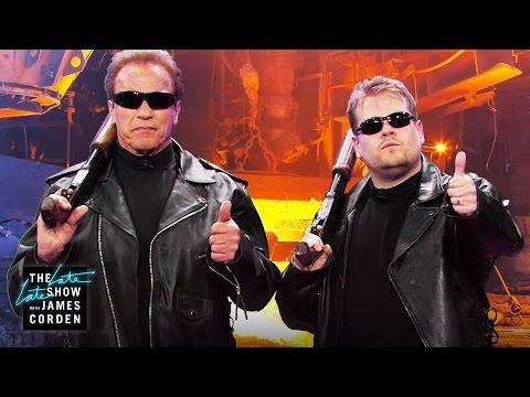 Arnold Schwarzenegger přehrává svou filmovou kariéru - The Late Late Show with James Corden