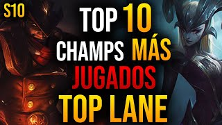 TOP 10 Campeones MÁS USADOS en TOP de LEAGUE OF LEGENDS | GUÍA LOL S10