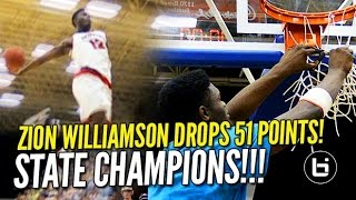 Zion Williamson Drops 51 & Chandler Lindsey Poster in State Championship! Raw Game Highlights!