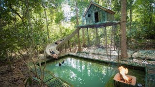 Build the Most Amazing Bamboo Villa Home heated Swimming Pool and Water Slide in The Jungle
