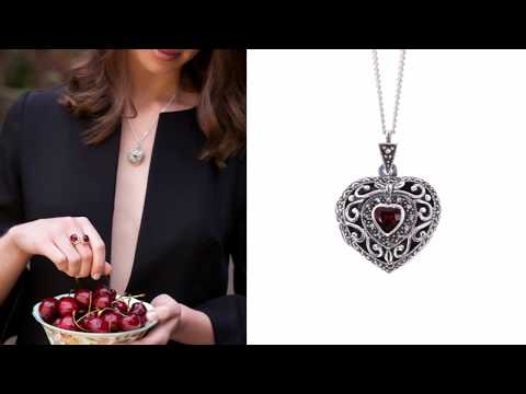 Lily Blanche Vintage Garnet Heart Locket