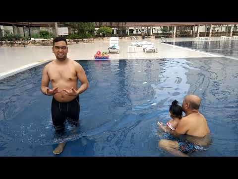 Swimming time with daddy and lolo