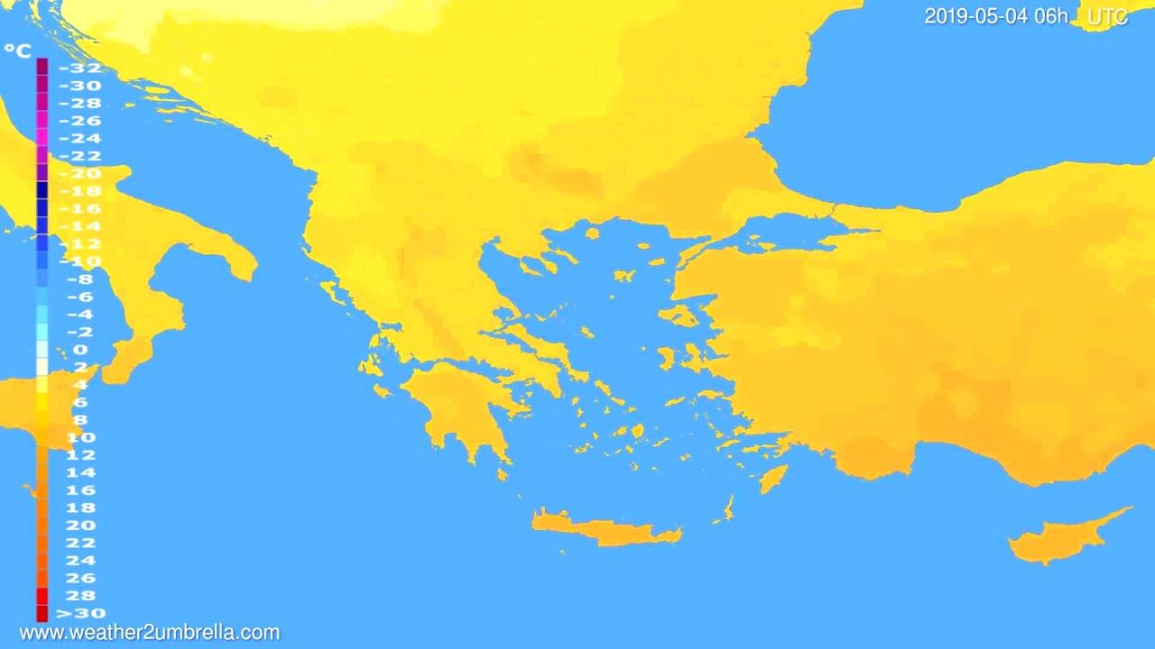 Temperature forecast Greece // modelrun: 12h UTC 2019-05-01