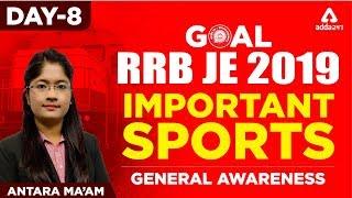 RRB JE 2019   Important Sports   MCQ DAY 8   Railways JE  2019   ANTARA MAM
