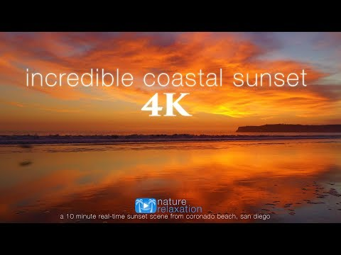 4K Incredible Sunset (UHD) 10 MIN Real-Time Nature Scene - San Diego Coast (Mavic 2 Pro Footage)