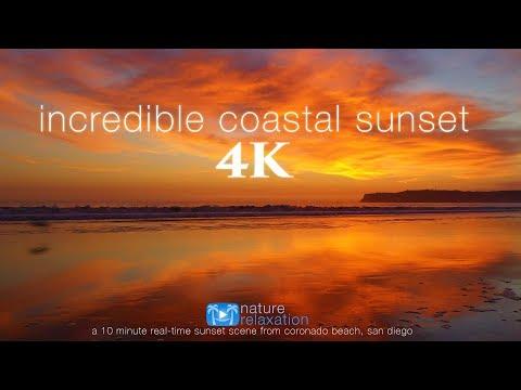 4K Incredible Sunset (UHD) 10 MIN Real-Time Nature Scene - San Diego Coast (Mavic 2 Pro Footage)