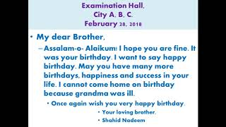 Write a letter to your brother on his birthday