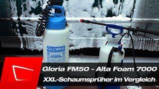 Gloria FM50 Schaumsprüher und Alta Foam 7000 im Vergleich Alta Foam 2000 in Groß