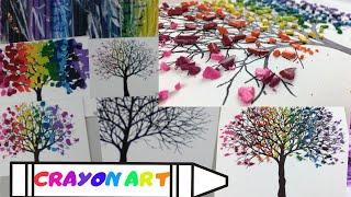 Melting Crayon Rainbow Tree Art On Canvas