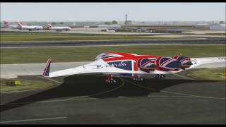 BOEING 797 FLYING WING SUPER LINER BRITISH AIRWAYS TAKE OFF FROM HEATHROW INTL AIRPORT FS9 HD