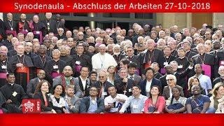 Papst Franziskus - Synodenaula - Abschluss der Arbeiten 27-10-2018