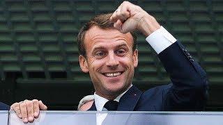 Реакция Макрона на победу сборной Франции! Жаркий поцелуй с главой Хорватии