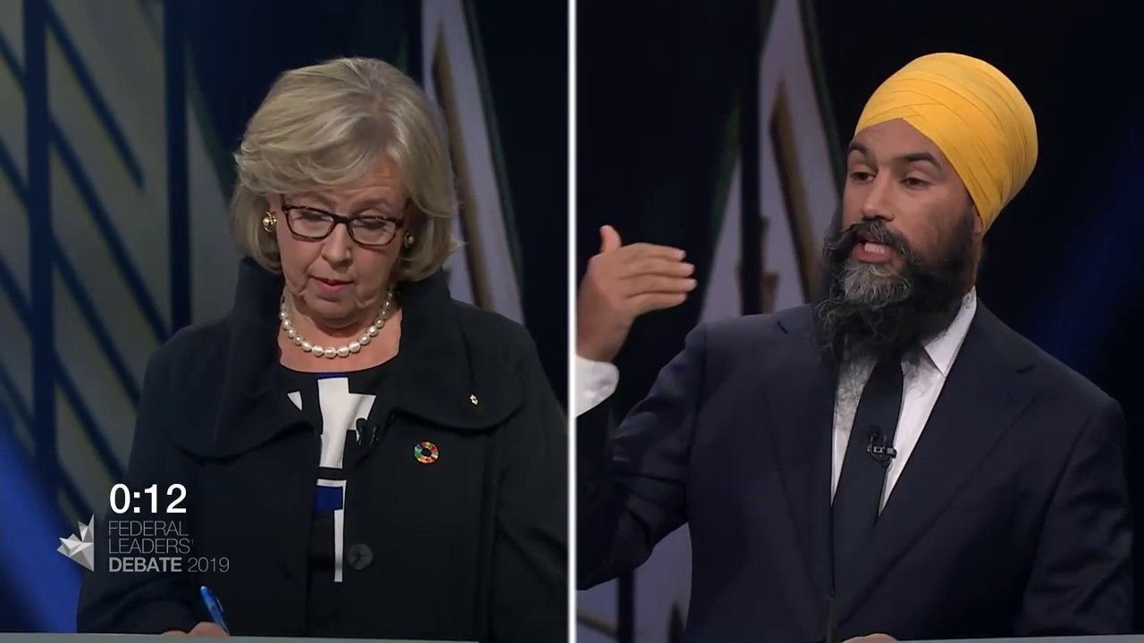 Jagmeet Singh debates Quebec's secularism law with Elizabeth May