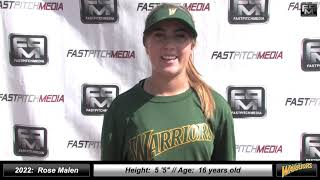 2022 Rose Malen 4.2 GPA - Pitcher Softball Skills Video - West Bay Warriors