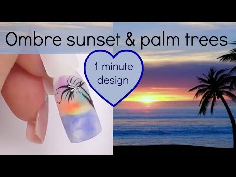 Ombre tropical sunset and palm trees with acrylic | Nail art tutorial