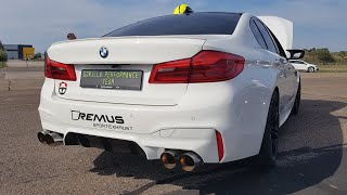750HP BMW M5 F90 with Straight Piped REMUS Exhaust - LOUD Revs & Drag Racing!