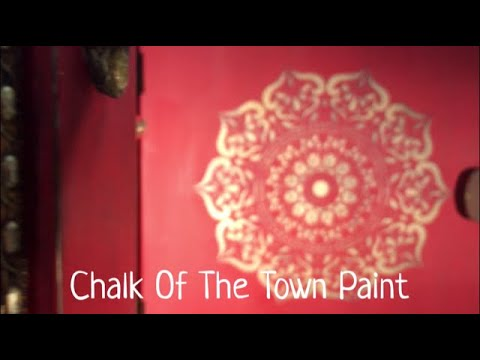 Chalk Of The Town - Red comoda bar with Mandala Stencil