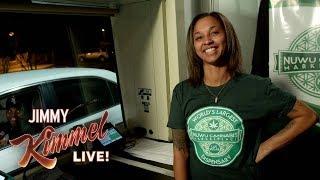 Jimmy Kimmel Talks to People Buying Weed at Marijuana Drive-Thru in Vegas