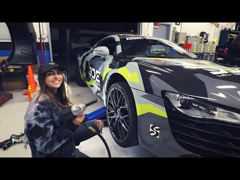 SHE DELETED THE TRACTION CONTROL AND DID DONUTS IN R8 SUPERCAR!