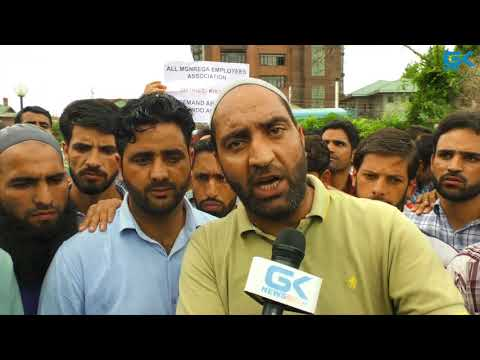 MGNREGA employees protest in Srinagar to seek regularisation