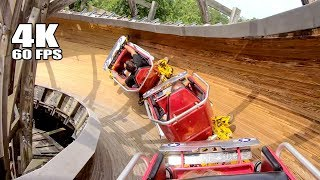 Riding Flying Turns Wooden Bobsled Roller Coaster at Knoebels! Multi Angle 4K Onride POV