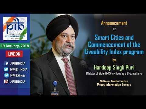 Union Minister Hardeep S. Puri to announce Smart Cities & Commencement of Liveability Index program