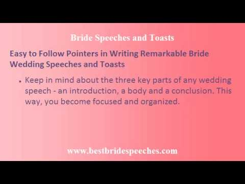 Bride Wedding Speech - Pointers in Writing Remarkable Wedding Speeches and Toasts