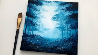 Acrylic Painting For Beginners Easy | Simple Forest Acrylic Painting On Canvas