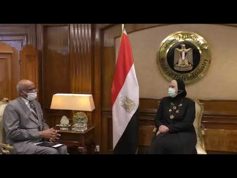 لقاء السيدة/نيفين جامع وزيرة التجارة والصناعة مع سفير السودان الجديد بالقاهرة