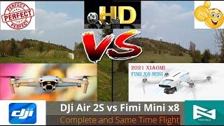 DJi Mavic Air 2S vs Xiaomi Fimi Mini x8, Full HD Video Camera & Smooth Flights Review Flown Together