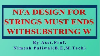 Unit-1.12 NFA Design for Strings must Ends with Substring w | RTU B.TECH CSE | UGCNET 2019 | GATE