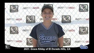 2021 Grace Kilday Committed UC Davis - Catcher and First Base Softball Skills Video - Ca Breeze