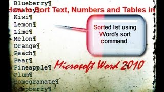 How to Sort Text, Numbers and Tables in Microsoft Word 2010